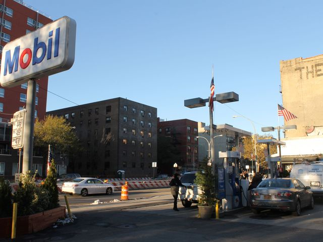 <p>Long lines stretched from a Mobil Station at East Houston Street and Avenue C Friday morning, Nov. 9, 2012.</p>