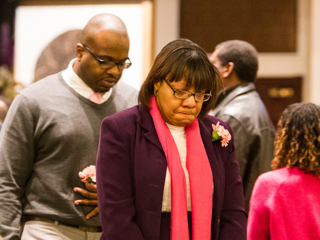 <p>Kim Abraham, the mother of Lauren Abraham, leaves the funeral service for her daughter at the Christian Cultural Center on Nov. 8, 2012.</p>