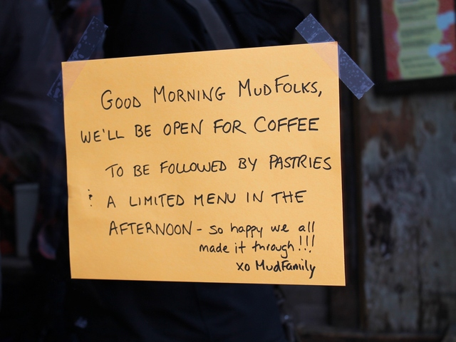 <p>Mud Cafe served coffee and baked goods Saturday. Restaurants all over downtown Manhattan were rushing to open their doors after being shuttered for days after Hurricane Sandy.</p>