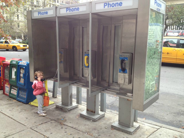<p>A blog posting shows Nessie Krim at a telephone booth in New York City.</p>