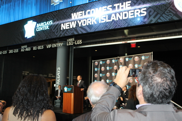 <p>NHL Commissioner Gary Bettman speaks at a a press conference announcing the New York Islanders move to the Barclays Center, starting with the 2015 season.</p>