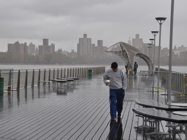 <p>Northside Piers still took occasional blows of rain and wind the day after Hurricane Sandy on Oct. 30, 2012.</p>