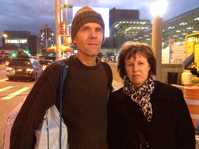 <p>Runner Claude Paquin, 50, and his wife Genevieve Howison, 50, leaving the Javitz Center a few moments after learning that the NYC Marathon was canceled on November 2, 2012. The couple, from Montreal, was not pleased.</p>