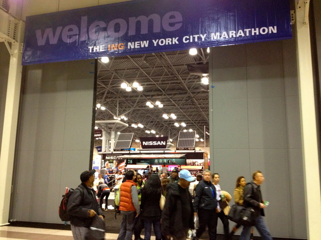 <p>Disappointed runners leave the Javitz Center Marathon Expo after learning the NYC Marathon was canceled on November 2, 2012.</p>