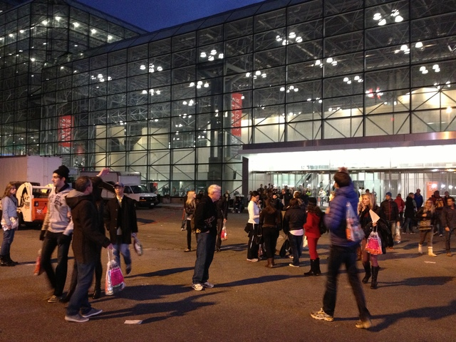 <p>Disappointed runners leave the Javitz Center Marathon Expo moments after learning that the NYC Marathon was canceled on November 2, 2012.</p>