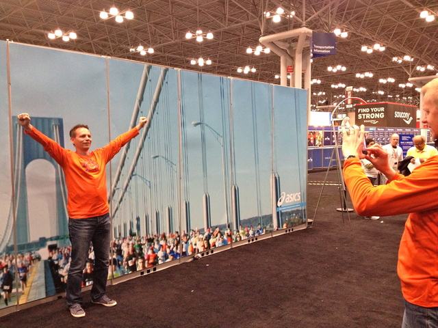 <p>Even after hearing that the marathon was canceled, some disappointed runners still tried to have some fun at the Marathon Expo on November 2, 2012.</p>