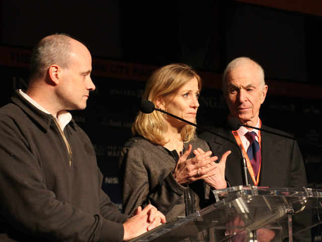 <p>New York Road Runners President Mary Wittenberg, at center, joined Deputy Mayor Howard Wolfson, at left, and George Hirsch, chairman of the board of the NYRR, spoke to reporters about the decision to cancel the 2012 NYC Marathon on Friday, Nov. 2, 2012.</p>