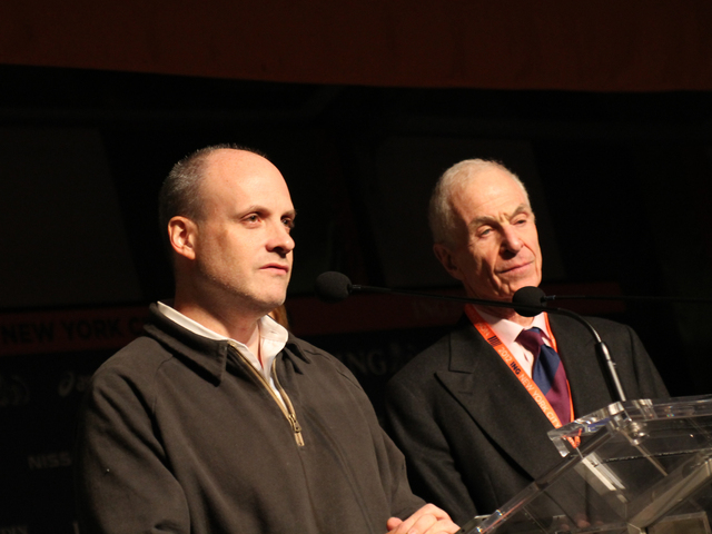 <p>Deputy Mayor Howard Wolfson, at left, and George Hirsch, chairman of the board of NYRR, spoke about their decision to cancel the marathon, saying that it was symbolic of growing unhappiness of running this race while people were suffering.<br /> 	&nbsp;</p>