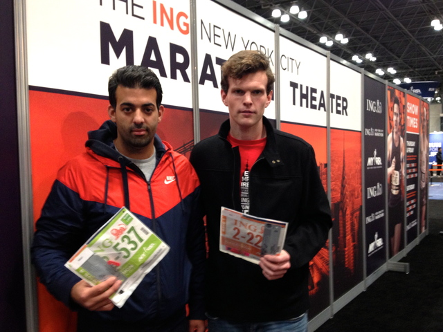 <p>Rick Nunnari, 32, from Bensonhurst and his friend Peter O&#39;Rourke, 25, from Bay Ridge hold their running bibs at the Marathon Expo on November 2, 2012, just a few moments after hearing that the marathon was canceled. &quot;We couldn&#39;t be more disappointed,&quot; said Nunnari.</p>