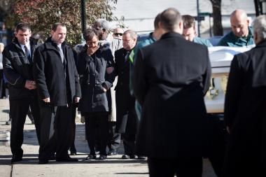 Mourners gathered for the joint funeral of Brendan and Connor Moore, 2 and 4, who died during Hurricane Sandy.