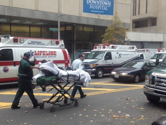 <p>New York Hospital Downtown evacuated patients in preparation for Hurricane Sandy on October 28, 2012.</p>