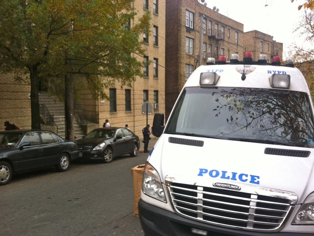 <p>Police are investigating the double homicide at 3034 Albany Crescent in the Bronx on Oct. 25, 2012.</p>