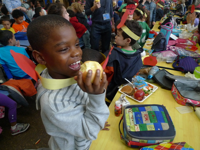 <p>Markel Augustin, 6, helps P.S. 10 participate in the Big Apple Crunch as part of Food Day on Oct. 24, 2012.</p>