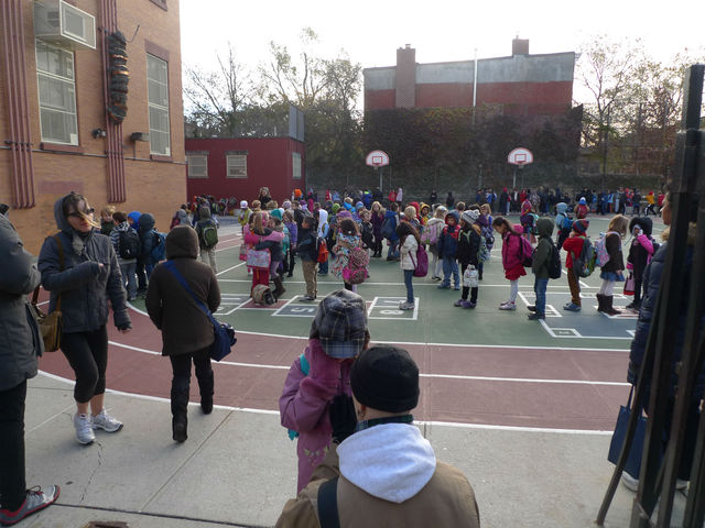 <p>Kids during morning line-up at P.S. 107 in Park Slope.</p>