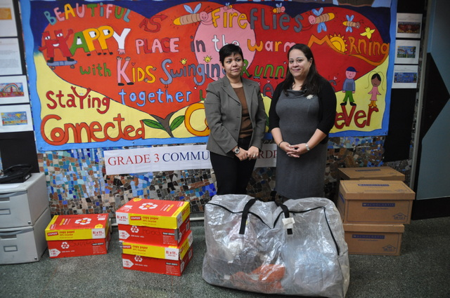 <p>P.S. 84&#39;s principal Sereida Rodriguez-Guerra and the parent coordinator Lydia Ruiz-Ferreira stood with donations from parents to send to families of P.S. 317Q in Rockaway Beach.</p>