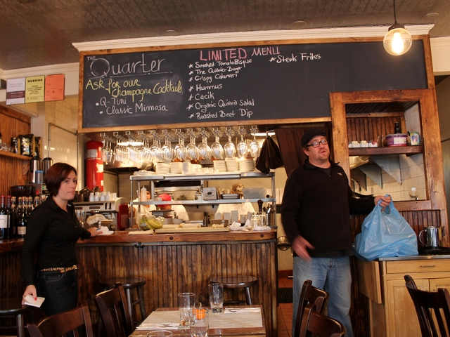 <p>The Quarter reopened Saturday after power was restored to lower Manhattan. The restaurant, which opened just six weeks ago, was reeling from its lost business this week after Hurricane Sandy forced them to close.</p>