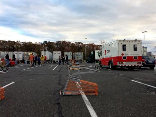 <p>The American Red Cross set up an emergency response station in Tottenville, Satten Island on Saturday, Nov. 3, 2012.</p>