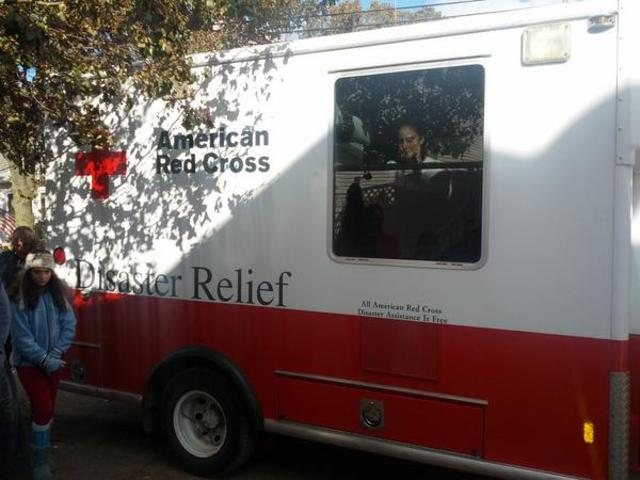 <p>A Red Cross truck gives out Hot food in Staten Island on Nov. 3, 2012.</p>
