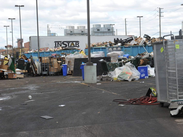 <p>The Fairway parking lot in Red Hook was full of trashed items from the store, which was flooded by Hurricane Sandy.</p>