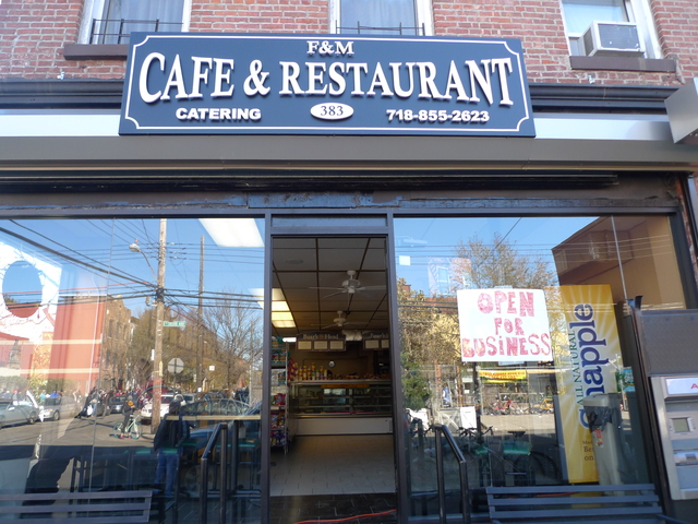 <p>F&amp;M Cafe &amp; Restaurant on Van Brunt Street in Red Hook was open for business following Hurricane Sandy.</p>