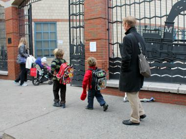 Students head to school at P.S. 234 in Tribeca.