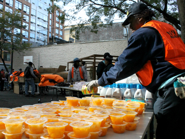 <p>NYCHA workers helped distribute supplies.</p>