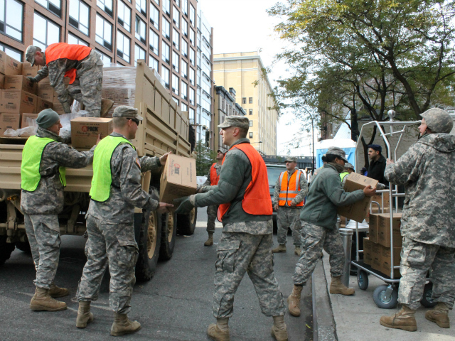 <p>Members of the National Guard delivered free supplies.</p>