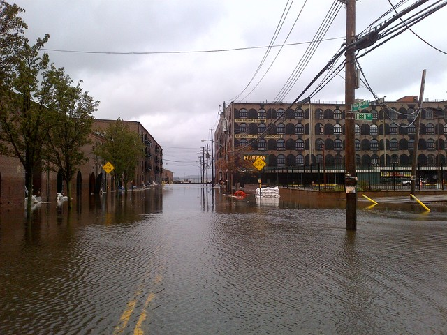 <p>Van Brunt Street in Red Hook, and Fairway Market at right, was inundated with floodwater during Hurricane Sandy Oct. 29, 2012.</p>