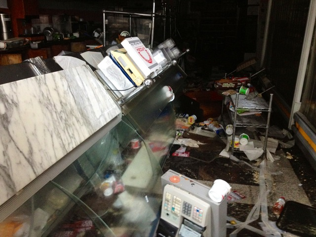 <p>Damaged interior of Water Street Gourmet in wake of Hurricane Sandy, Oct. 30, 2012.</p>