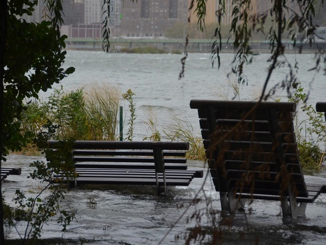 <p>Portions of Gantry Park in Long Island City were under water Monday.</p>