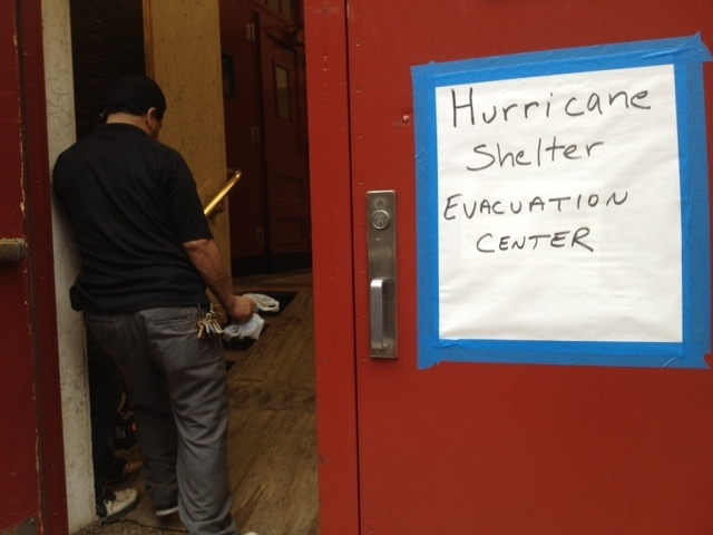 <p>Seward Park High School on the Lower East Side opened its doors as an emergency shelter in anticipation of Hurricane Sandy, Oct. 28, 2012.</p>