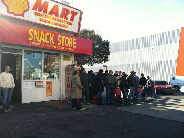 <p>People waited for more than an hour on the 20-person line at a Shell station in Clinton Hill.</p>