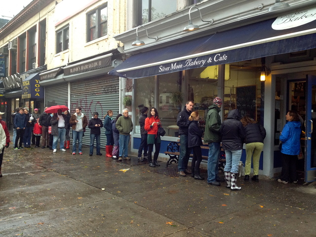 <p>Residents line the street for coffee, sweets and bread at popular&nbsp; Silver Moon Bakery on 105th and Broadway early Tuesday morning. Upper West Siders were relatively unscathed by Hurricane Sandy.</p>