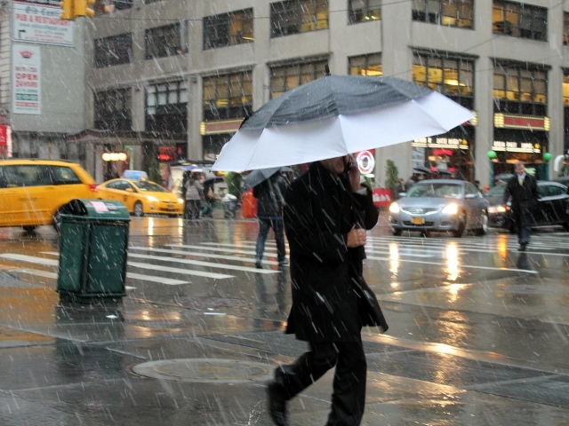 <p>Snow fell in Manhattan Wednesday afternoon as a nor&#39;easter hit the city.</p>