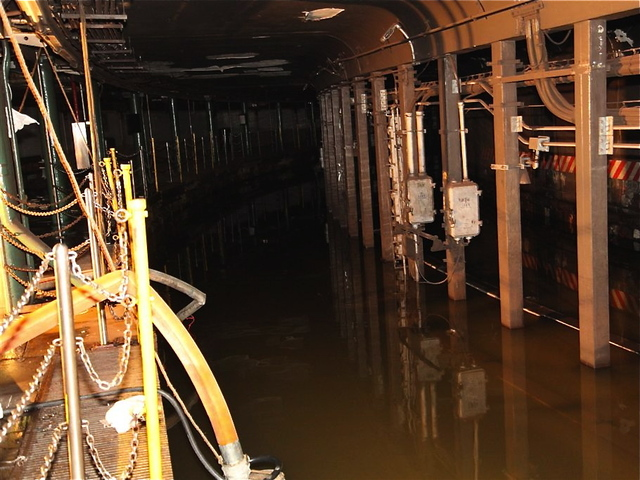 <p>South Ferry subway platform photographs provided by the MTA on October 31, 2012 show extensive damage after Hurricane Sandy pummeled Lower Manhattan with a 14-foot storm surge.</p>