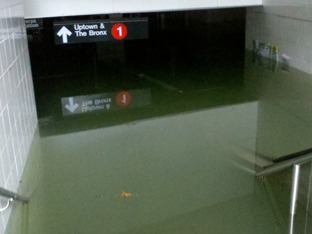 <p>The South Ferry subway station was underwater Oct. 30, 2012 after Hurricane Sandy.</p>