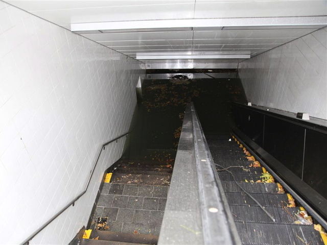 <p>Photographs taken from the South Ferry subway station show the entrance was underwater as the city resumed cleanup efforts on October 31, 2012.</p>