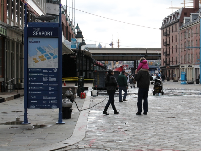 <p>Efforts to clean up South Street Seaport were underway Thursday after the area was flooded during Hurricane Sandy.</p>