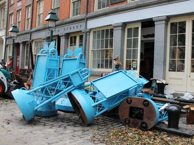 <p>Cleanup efforts at the South Street Seaport Museum on Thursday, Nov. 1.</p>