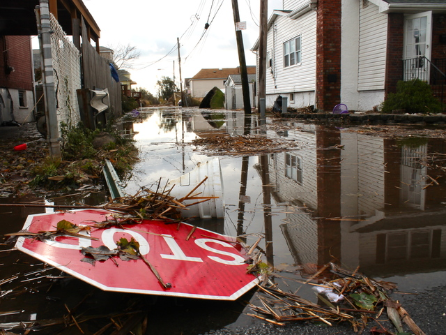 <p>October 31, 2012 - Fox Lane is Staten Island was flooded days after Hurricane Sandy.</p>