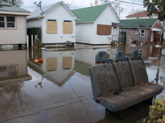 <p>October 31, 2012 - The streets of Midland Beach remain flooded days after Hurricane Sandy.</p>