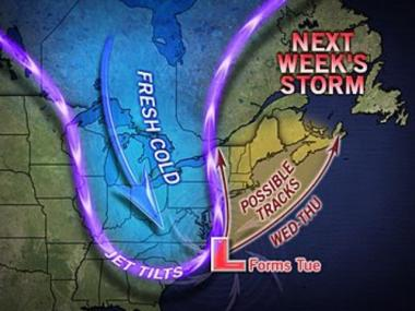 Rain, wind and possibly snow could strike New York starting next Wednesday, forecasters said.