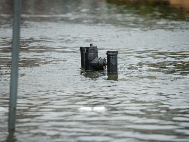 <p>A fire hydrant in flood waters on Beach 29th Street in Far Rockaway on Monday October 29th, 2012.</p>