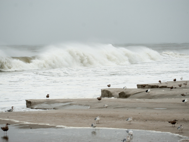 <p>Sand erosion is seen near Beach 34th Street in Far Rockaway on Monday October 29th, 2012.</p>