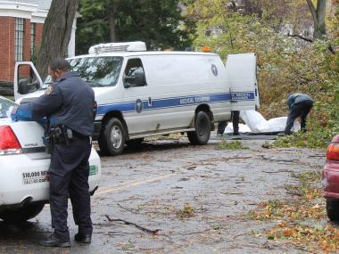 Two people were found dead beneath a downed tree in Flatbush Tuesday morning, Oct. 30, 2012.