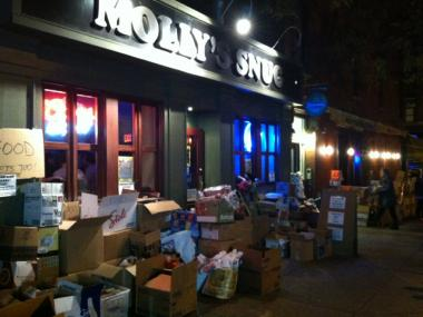 Upper East Side Residents rally to help victims of Hurricane Sandy with a clothing and supply drive.