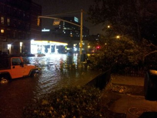 <p>Hurricane Sandy was so powerful that the water flooded First Avenue in front of the Isaacs Houses.</p>