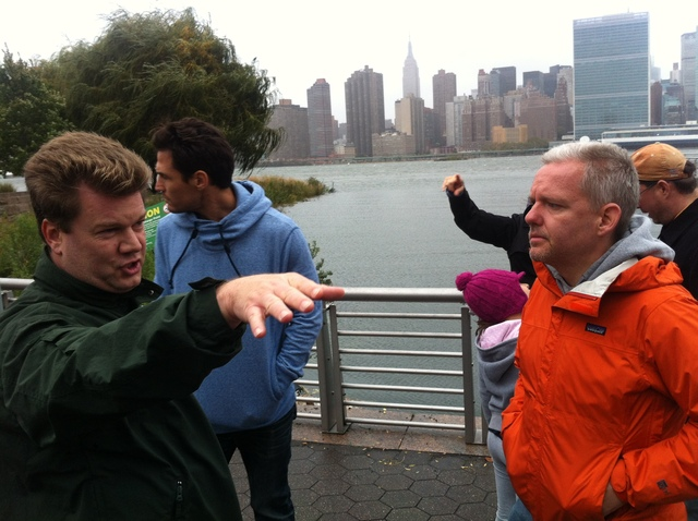 <p>Councilman Jimmy Van Bramer inspected flooding in Long Island City on Monday October 29, 2012.&nbsp;</p>