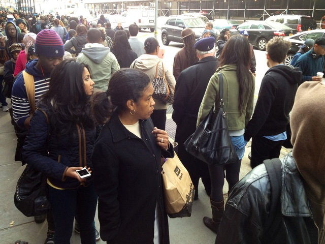 <p>Commuters in Downtown Manhattan and Brooklyn said that the line for the busses stretched around the block several times on November 1, 2012.</p>