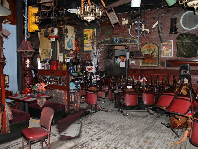 <p>The Waterfront Crab House in Long Island City following Hurricane Sandy. The flooding destroying floors, furniture and memorabilia that decorated the walls.</p>